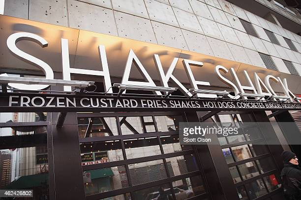 Sign hangs outside of a Shake Shack restaurant on January 28, 2015 in Chicago, Illinois. The burger chain, with currently has 63 locations, is...