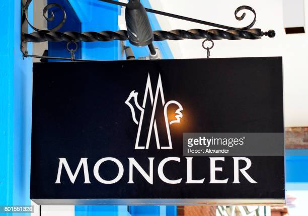 A sign hangs over the entrance to the Moncler clothing shop in Aspen Colorado The Italian apparel retail chain is headquartered in Milan Italy