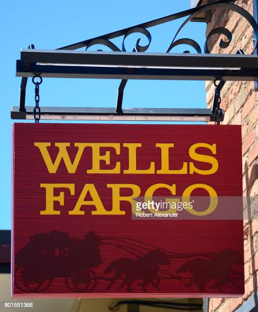 A sign hangs over the entrance to the Wells Fargo Bank in Aspen Colorado