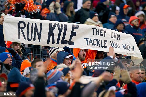A sign heckling former Broncos quarterback Kyle Orton now with the Kansas City Chiefs is seen as Orton and the Chiefs won 73 over the Broncos on...