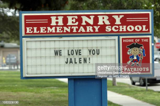 BEACH CALIF USA A sign honoring Jalen Thayer at Patrick Henry School in Long Beach Calif on March 19 2011 Friends and family of Jalen Tahyer threw...