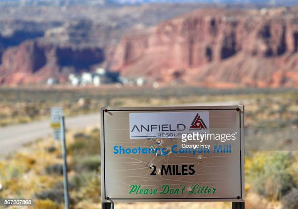 A sign identifies Anfield's Shootaring Canyon Uranium Mill on October 27 2017 outside Ticaboo Utah Anfield with is in partnership with the Russian...