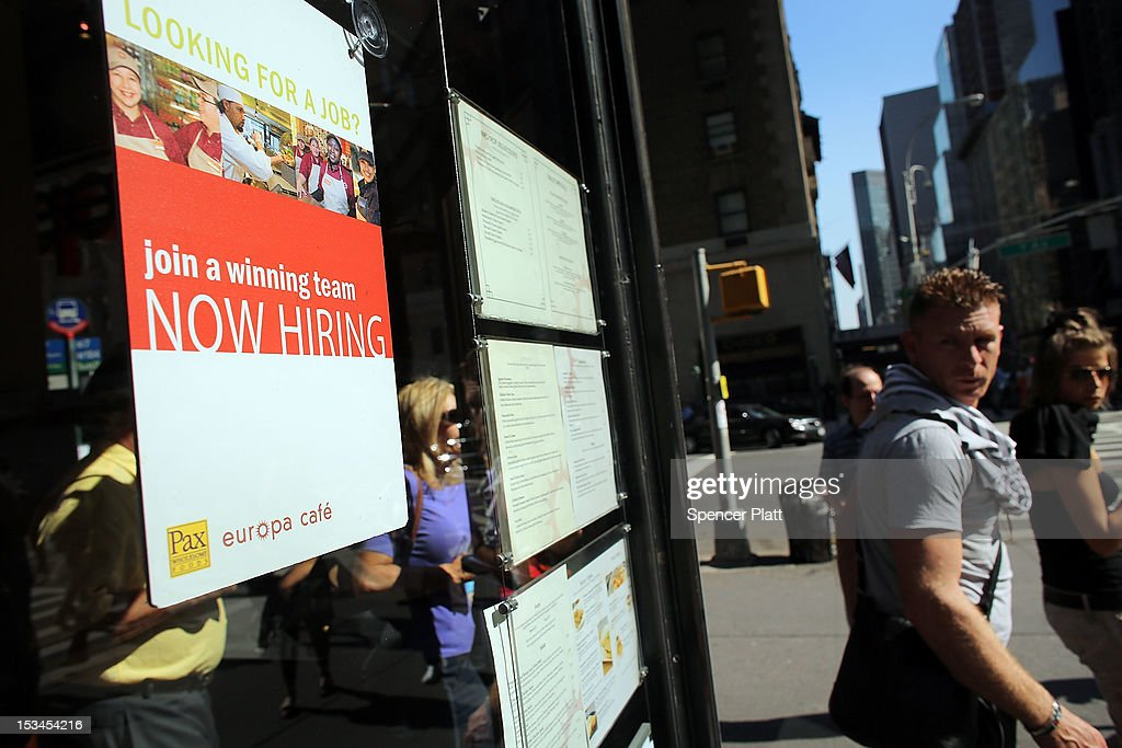 A sign in a cafe window as advertises employment opportunities on October 5, 2012 in New York, United States. In fresh signs that the U.S. economy is gaining speed, the latest jobs market data for September showed that the U.S. labor market has improved significantly. The unemployment rate fell from 8.1 percent in August to 7.8 percent in September, moving below 8 percent for the first time in 43 months.