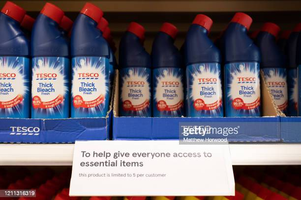 A sign in a Cardiff Tesco store warning of limits on the number of bottles of bleach that can be purchased on March 9 2020 in Cardiff United Kingdom...
