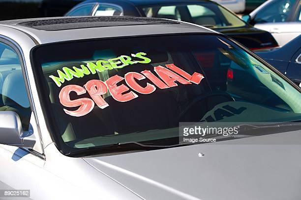 Sign in car window