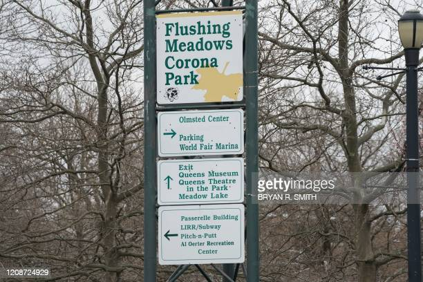 A sign in Flushing Meadows Corona Park is viewed as the US Army Corps is planning to build a temporary hospital to cope with coronavirus cases at the...
