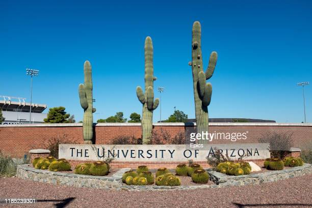 A sign in front of some cacti mark one of the entrances to the University of Arizona in Tucson Arizona The University was founded in 1885 and was the...