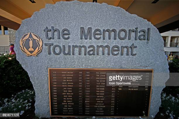 Sign in front of the clubhouse lists all the former winners during the Memorial Tournament - Second Round at Muirfield Village Golf Club in Dublin,...