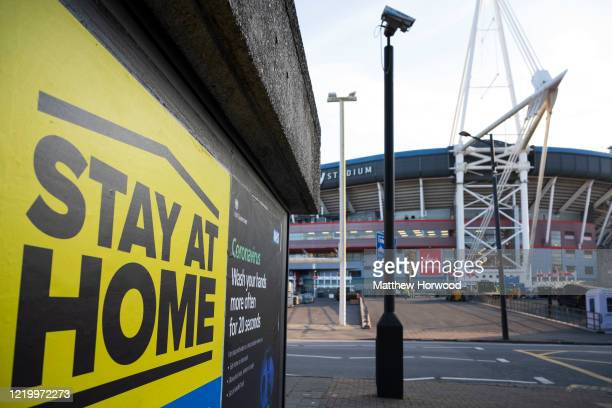 Sign in front of the Principality Stadium, home to the Dragon's Heart 2000-bed coronavirus field hospital, in Cardiff city centre encouraging people...