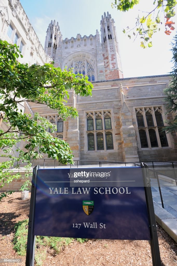 Sign in front of Yale University Law School : Stock Photo