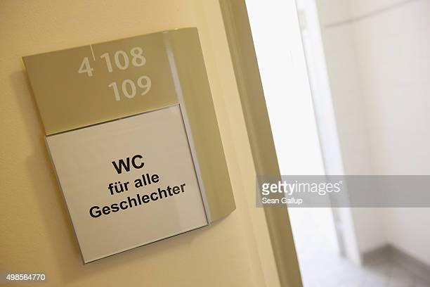 A sign in German reads 'WC for all genders' at a newlyinaugurated genderfree toilet at the office building of the city's Senate Administration for...