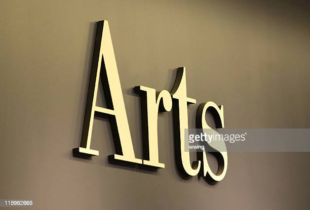 arts sign in gold letters - amateur theater stock pictures, royalty-free photos & images