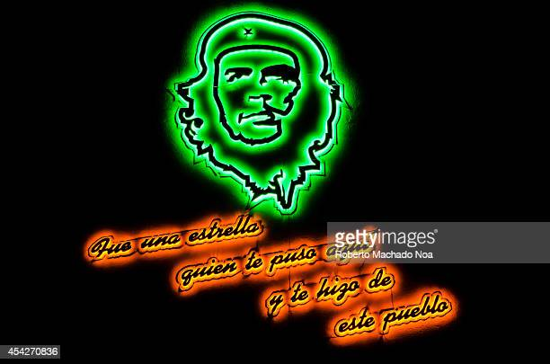 Sign in memoria of Ernesto Che Guevara the guerrilla leader who freed the city according to the Revolutionary history