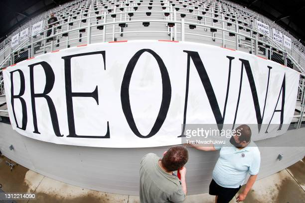 Sign in remembrance of Breonna Taylor is seen in a game between Racing Louisville FC and the Orlando Pride at Lynn Family Stadium on April 10, 2021...