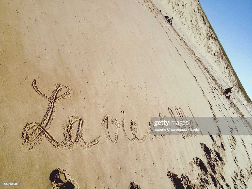 Sign In Sand On Beach : Foto stock