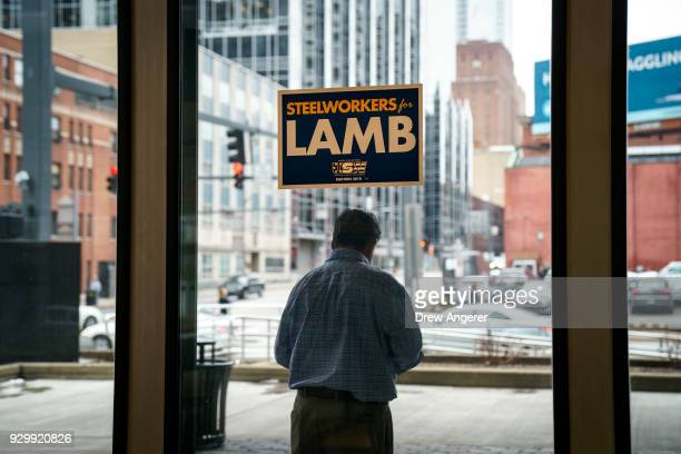 A sign in support of Conor Lamb Democratic Congressional candidate for PennsylvaniaÕs 18th district hangs in the lobby of the United Steelworkers...