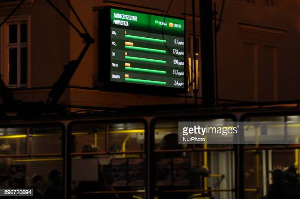 A sign in the center of the city is seen showing the concentration of particular air pollutants on December 21 2017 The World Health Organization...
