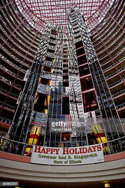 A sign in the center of the James R Thompson building reads Happy Holidays Governor Rod R Blagojevich where Mr Blagojevich has his office December 10...
