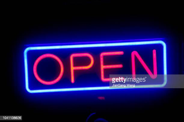 led open sign in the night - open for business stock pictures, royalty-free photos & images