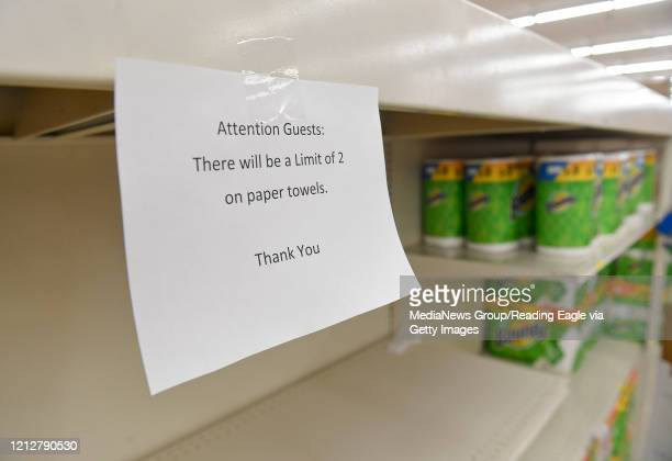 "Sign in the paper towel aisle reads ""Atention Guests: There will be a limit of 2 on paper towels. Thank you"" at the Redner's in Wyomissing, PA Monday..."