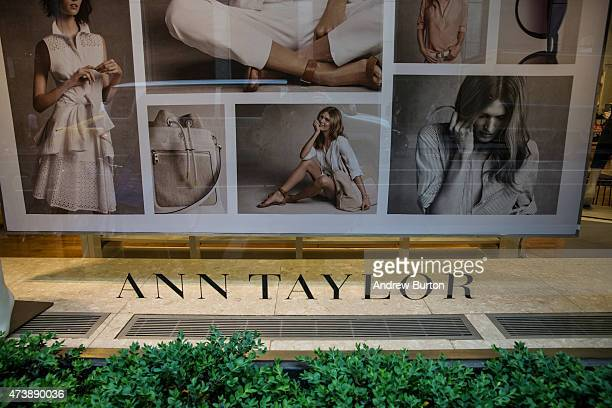 A sign in the window display of an Ann Taylor store in Manhattan on May 18 2015 in New York City Ascena Retail Group which owns Lane Bryant and...
