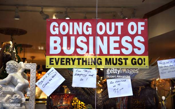 SAN FRANCISCO CALIFORNIA SEPTEMBER 16 2018 A sign in the window of a home decor store in San Francisco California announces the store's going out of...