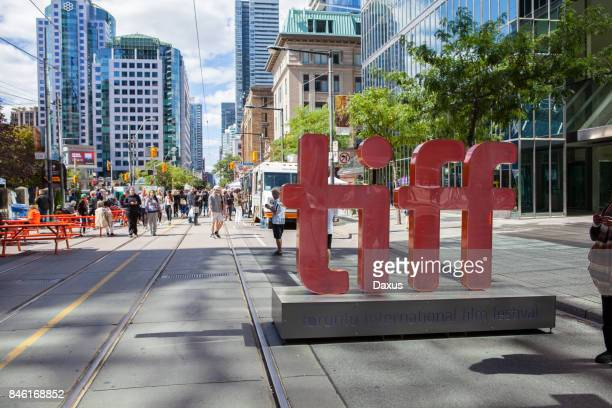 tiff sign in toronto - film festival stock pictures, royalty-free photos & images