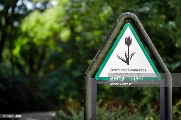 A sign indicates a protected green area according to a law of on August 08 2018 in Berlin Germany