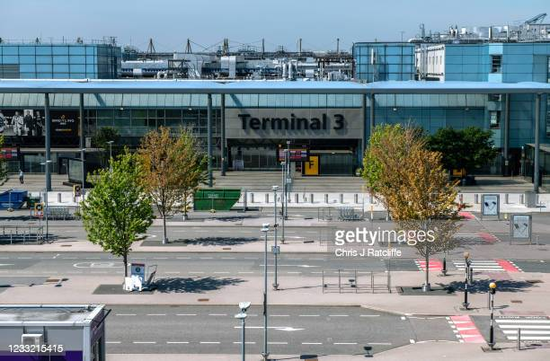 Sign indicates that Heathrow Terminal 3 building is closed to passengers as it is set aside for red list arrivals at Heathrow Airport on June 1, 2021...