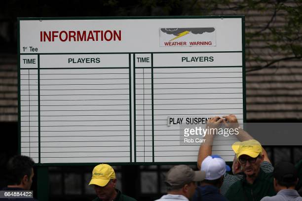 A sign indicates that play is suspended due ot inclement weather during a practice round prior to the start of the 2017 Masters Tournament at Augusta...