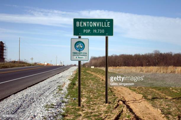 A sign indicates the city limits of Bentonville pop 19 an unlikely location for the headquarters of the world's biggest corporation WalMart March 13...