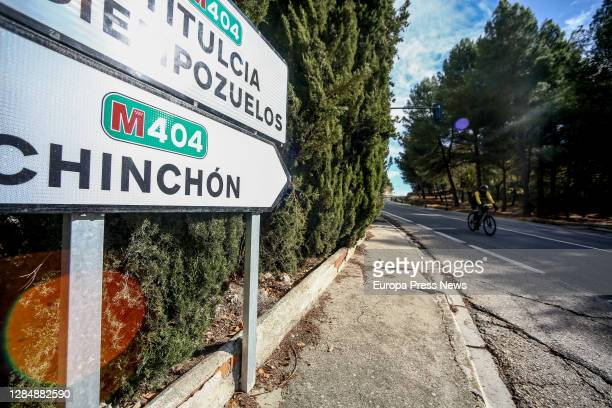 Sign indicates the direction to Chinchón, one day before the municipality is confined to stop the spread of the coronavirus, on November 08 in...