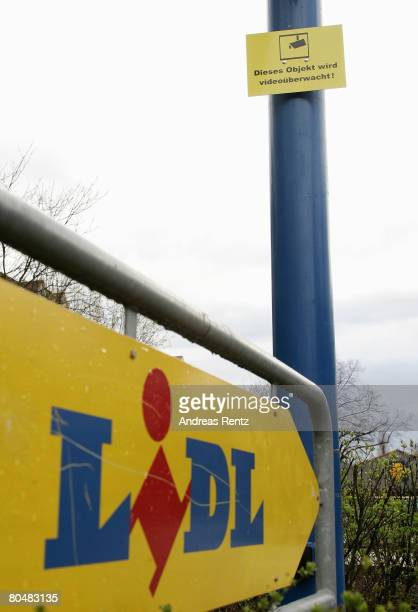A sign indicates the location of a supermarket of German discount grocery chain Lidl on April 2 2008 in Berlin Germany Lidl is under investigation by...