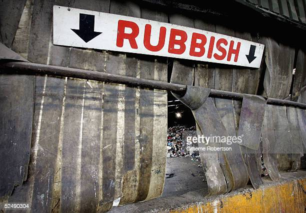 A sign indicates where rubbish should be placed at local dump on March 27 2005 in London England Local councils have taken tough measures to remove...