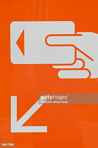 Sign indicating correct use of credit card reader