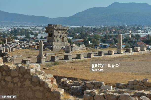 A sign indicating that the site has been designated as a UNESCO World Heritage Site since 1988 On Wednesday 11 October 2017 in Xanthos Kinik Antalya...