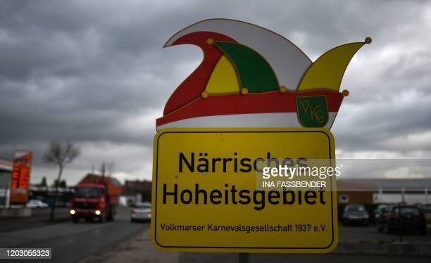 A sign indicating the foolish sovereign territory of the Volkmarser carnival society is pictured on February 25 2020 in Volkmarsen near Kassel...