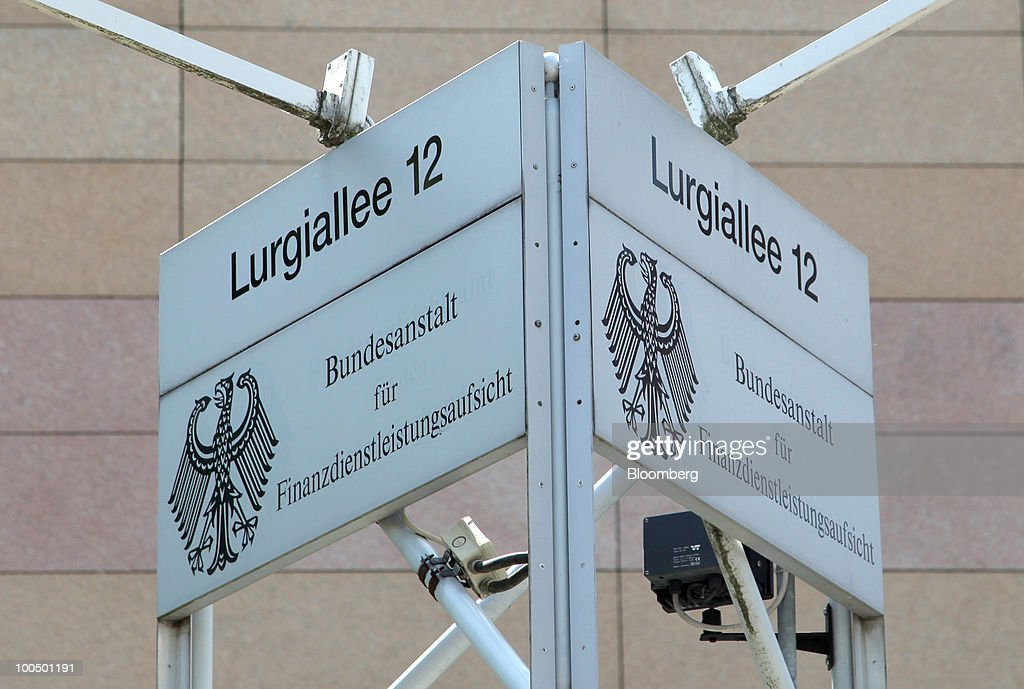 A sign indicating the German Federal Financial Supervisory Authority (BaFin) offices is seen in Frankfurt, Germany, on Tuesday, May 25, 2010. Germany's unilateral move to curb speculative trading of government bonds and some naked short selling last week forced lawyers to work long hours to interpret rules enacted with less than a day's notice. Photographer: Hannelore Foerster/Bloomberg via Getty Images