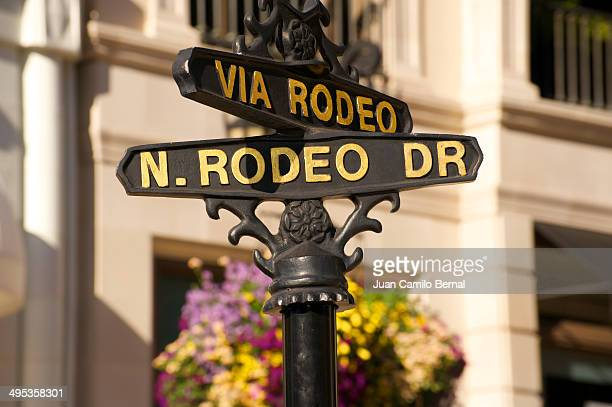 Sign indicating the intersection of Via Rodeo and Rodeo Drive, one of the most prestigious and luxurious landmarks of Los Angeles, in Beverly Hills