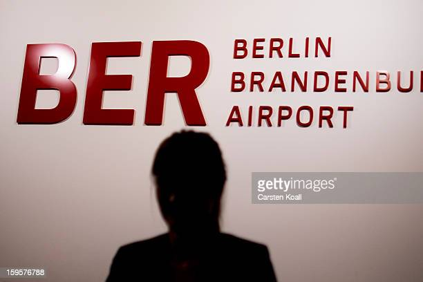 A sign indicating the name of the new Berlin airport is seen in the press center after a meeting of the Governing Board of the new Willy Brandt...