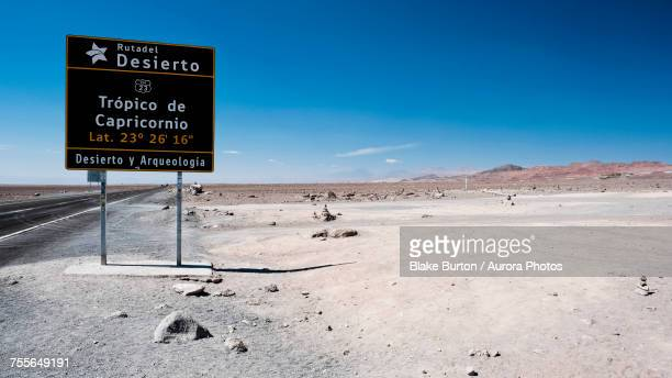 Sign indicating tropic of Capricorn in Atacama Desert, Chile