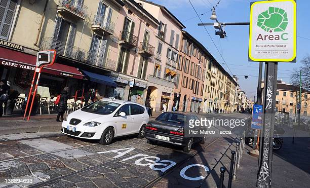 A sign informing motorists that they are entering the Congestion Charge zone stands on the street on January 12 2012 in Milan Italy To help decongest...