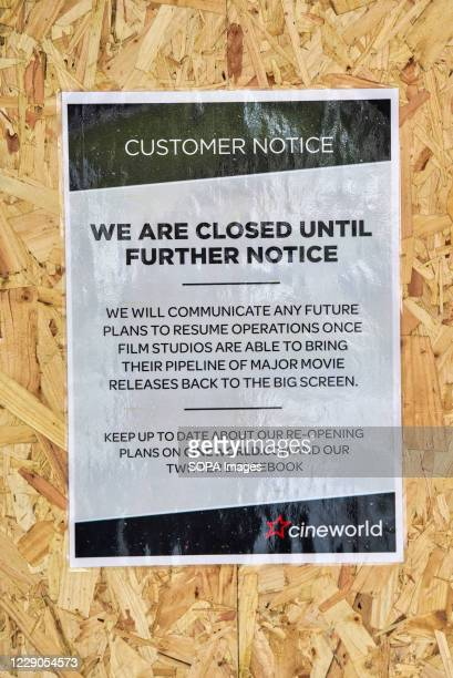 A sign informing patrons that the Cineworld Cinemas have closed until further notice British cinema chain Cineworld announced that it's temporarily...