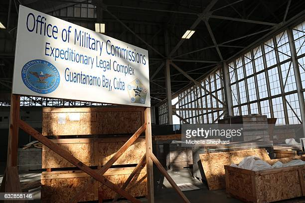BAY CUBA A sign inside a hangar at Camp Justice where the US Naval Base's war crimes trials are held US President Donald Trump has vowed to keep the...