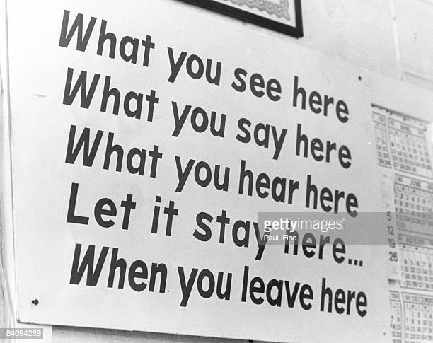 A sign inside coach Vince Lombardi's office at training camp at Dickinson College in Carlisle Pennsylvania in July of 1969
