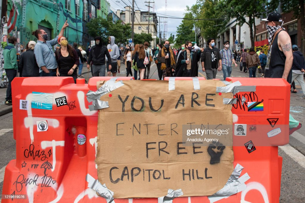 """Views from the area named """"Capitol Hill Autonomous Zone"""" in Seattle : ニュース写真"""
