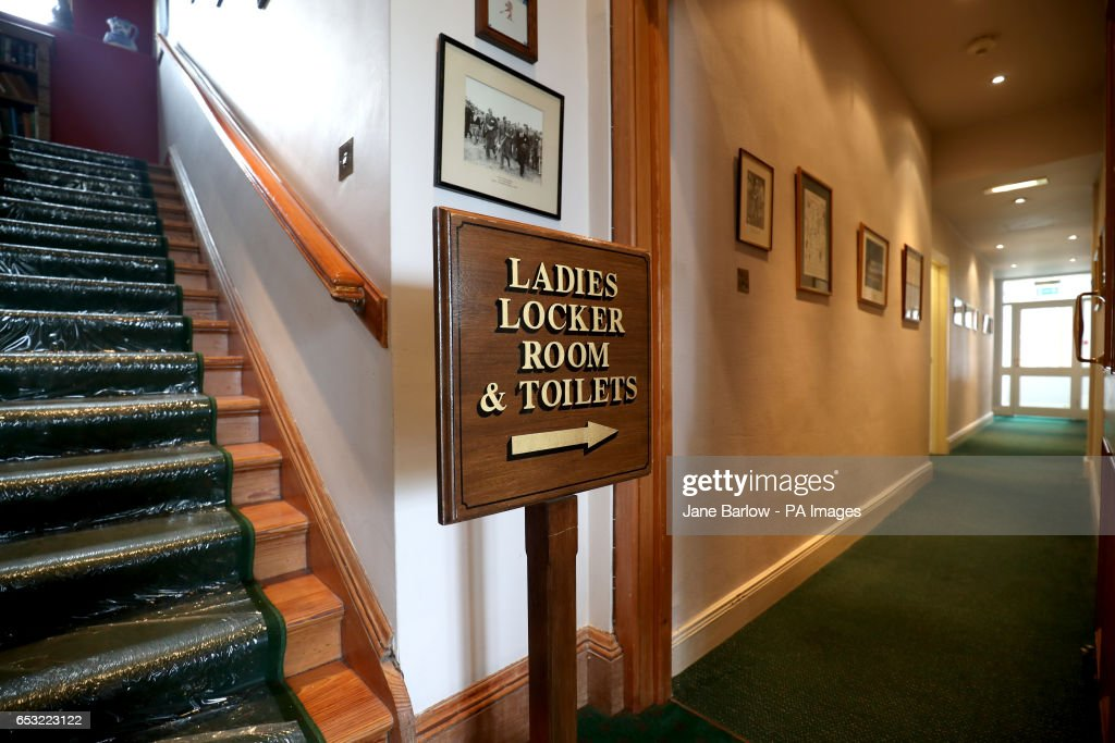 Sign inside the clubhouse at Muirfield Golf Club after it was announced that women will be admitted as members following a ballot by The Honourable Company of Edinburgh Golfers.