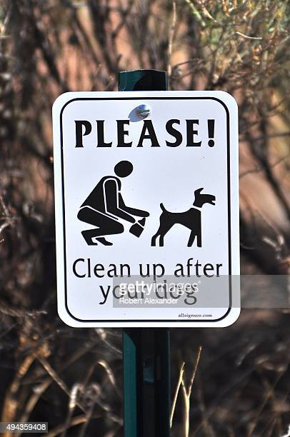 A sign installed along a sidewalk asks that people walking their dogs please clean up their pet's feces