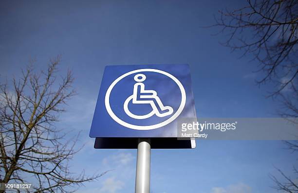 A sign is displayed above a disabled car parking bay on February 16 2011 in Bath England The government is currently considering a range of measures...