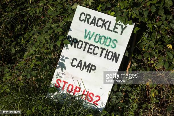 A sign is displayed at the entrance to Crackley Woods Protection Camp on 24th August 2020 in Kenilworth United Kingdom AntiHS2 activists continue to...